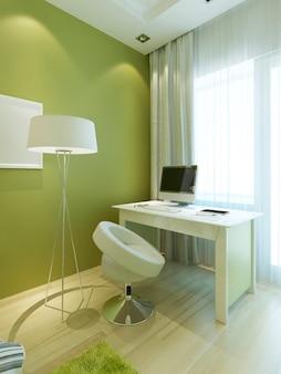 Рабочее место со столом и стулом в стиле contemporary в детской. номер в светло-зеленых тонах с белой мебелью. стол с ноутбуком и техникой. 3d визуализация.