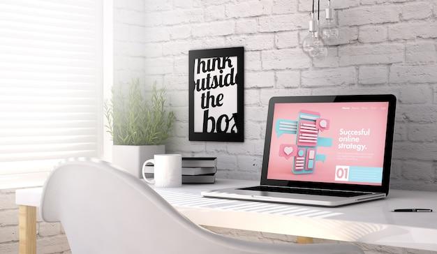 Рабочее место с ноутбуком. веб-сайт интернет-маркетинга на экране. вся экранная графика придумана. 3d рендеринг