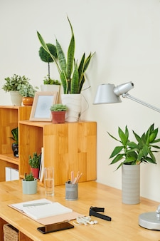 Workplace with plants at office