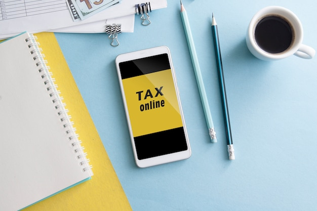 Workplace with tax payment online via smartphone