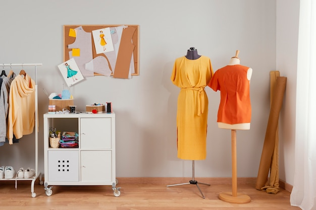 Workshop style with clothes on mannequin