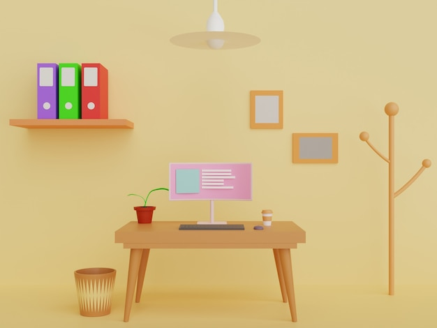 Workspace background design 3d illustration