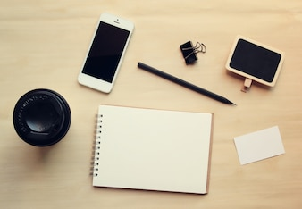Workspace business mock up set with retro filter effect