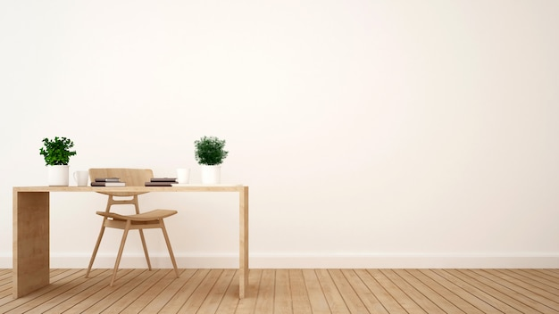 Workspace or coffee shop minimal design - 3d rendering