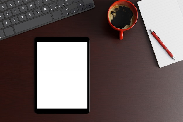 Workspace desk with tablet blank white screen, keyboard and red cup of coffee on wood table. top view flat lay with copy space.