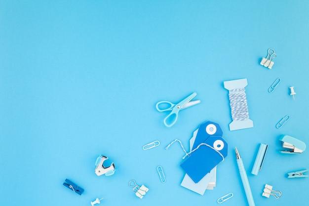 Workspace handcraft desk styled office supplies background
