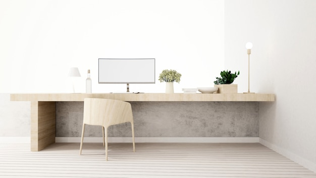 Workspace in home or apartment - 3d rendering