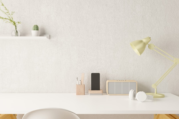 Рабочий стол домашнего офиса поставляет на рабочем месте офиса. 3d-рендеринг.