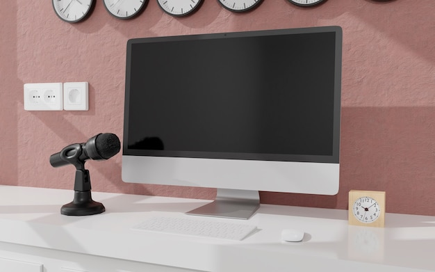 Workspace at home with a desktop computer and microphone