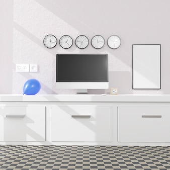 Workspace at home with a desktop computer
