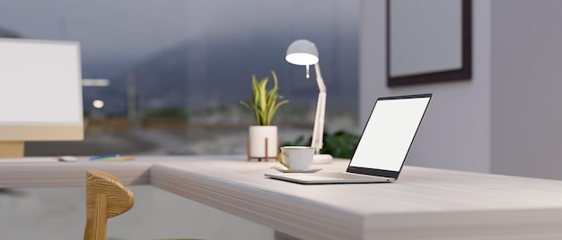 Рабочее пространство в современном и роскошном домашнем интерьере с размытым макетом ноутбука снаружи 3d-рендеринга