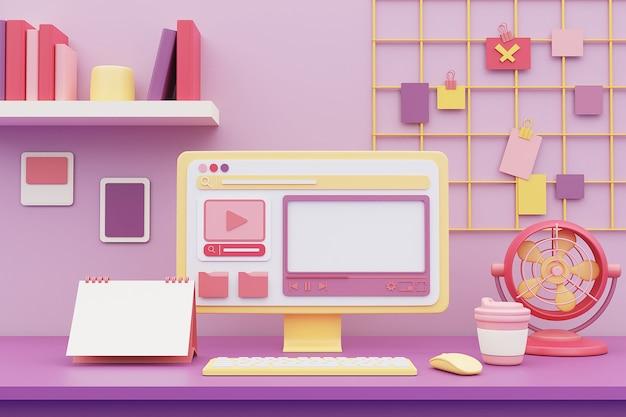 책상에 컴퓨터 및 사무용품이있는 파스텔 색상의 작업 공간. 3d 렌더링.