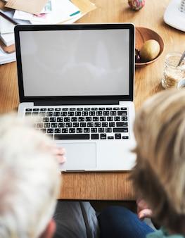 Workspace laptop technology copy space concept