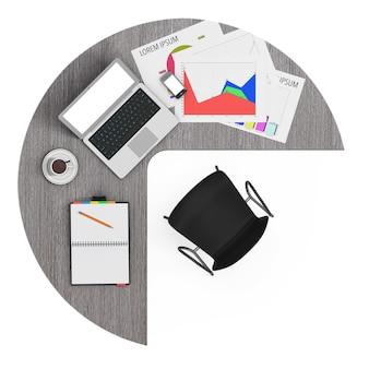 Рабочая область бизнесмена с ноутбуком на белом фоне. 3d рендеринг