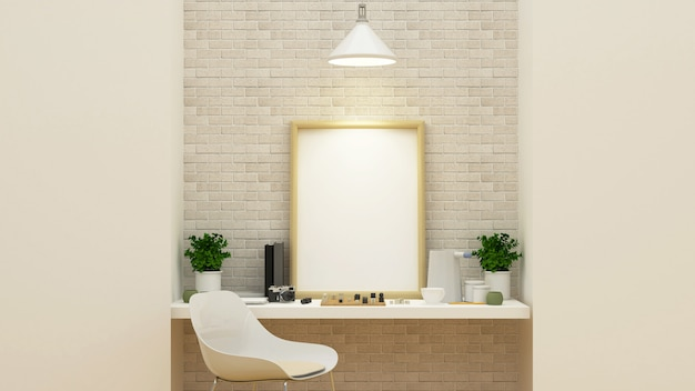 Workspace and relax area - 3d rendering
