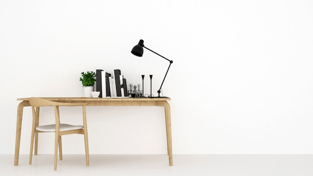 Workspace in white background