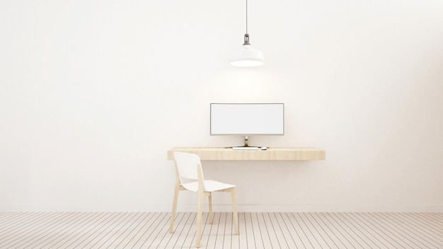 Workspace white tone in home or apartment - 3d rendering