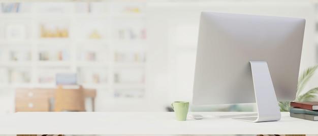 Рабочее пространство с компьютерным монитором, канцелярскими принадлежностями и копией пространства и размытым фоном, 3d-рендеринг, 3d-иллюстрация