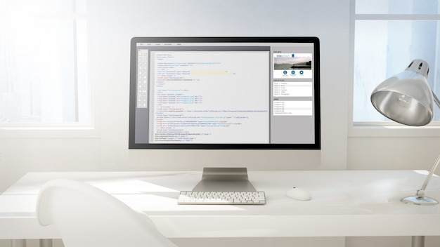 Workspace with computer screen showing codes