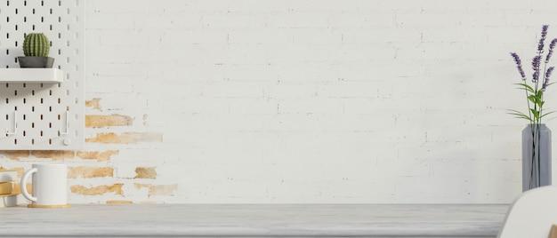 Рабочее пространство с украшениями кубок копией пространства и полка, украшенная на фоне кирпичной стены 3d