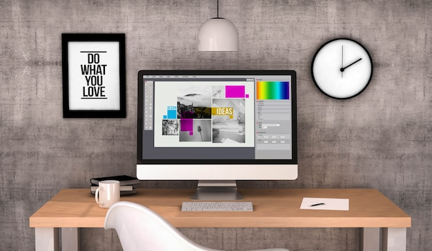 Workspace with graphic design software on screen computer. 3d rendering
