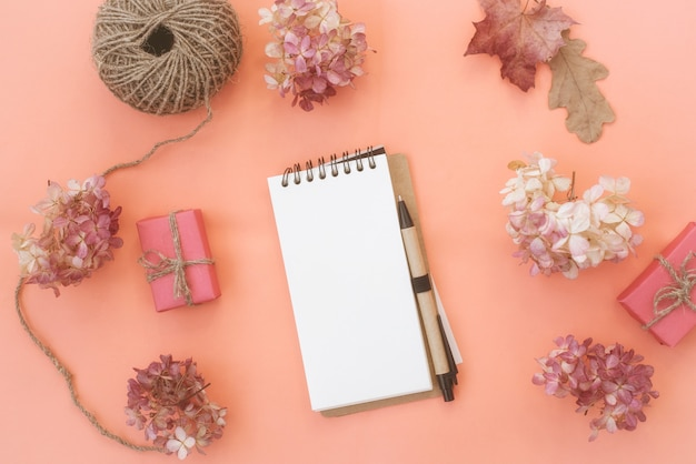 Workspace with notebook on peach background