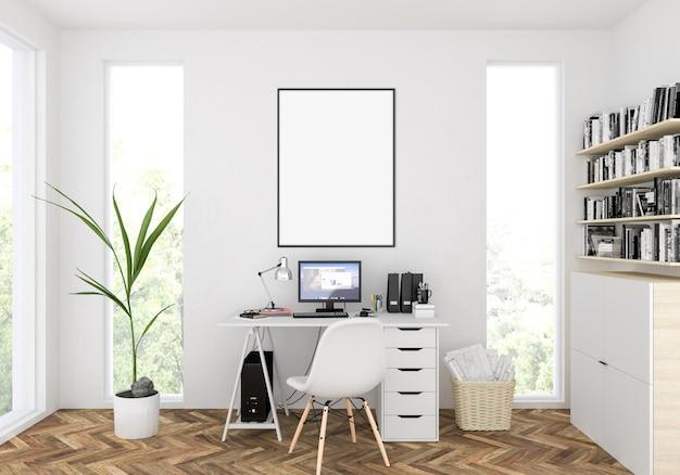 Workspace with scandinavian room, vertical mockup, artwork display