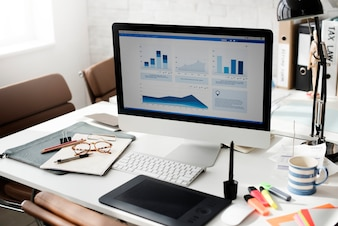 Workspace Working Desk Accounting Analysis Concept