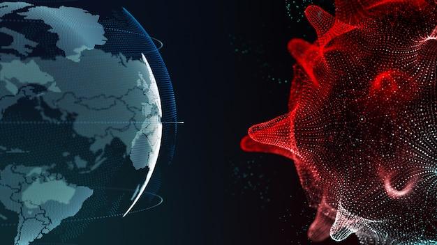세포 마이크로, covid-19의 세계 및 코로나 바이러스 3d 렌더링