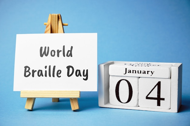 World braille day of winter month calendar january.