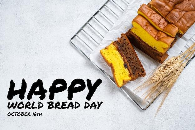 다채로운 윤곽선 스타일 아이콘으로 영양과 건강한 식단에 대한 세계 빵의 날 인사말 카드 그림. 야채, 과일, 빵, 고기가 포함됩니다.