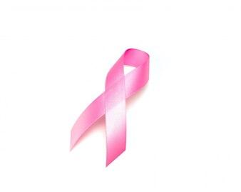 世界のがん日:ホワイトバックグラウンド・上の乳がん啓発リボン