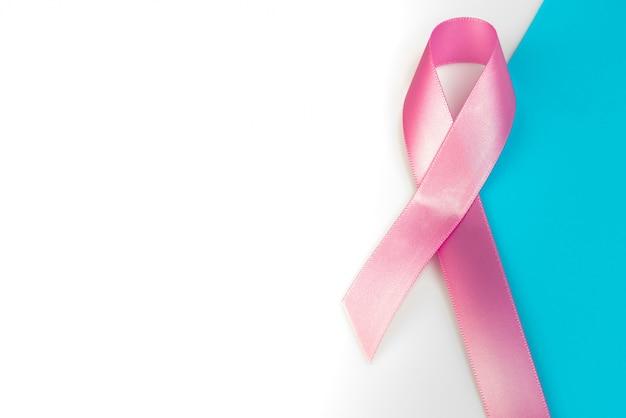 World cancer day : breast cancer awareness ribbon on white backg