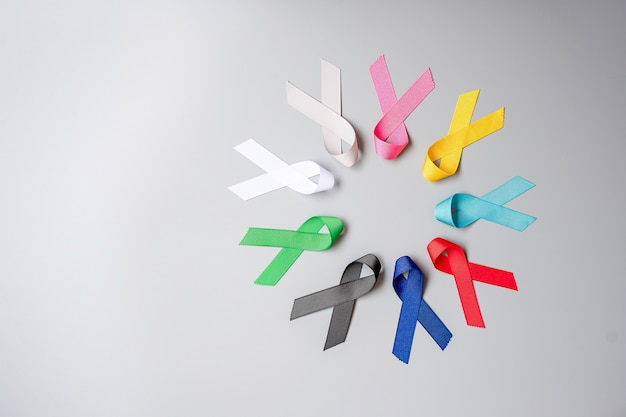 World cancer day. colorful awareness ribbons