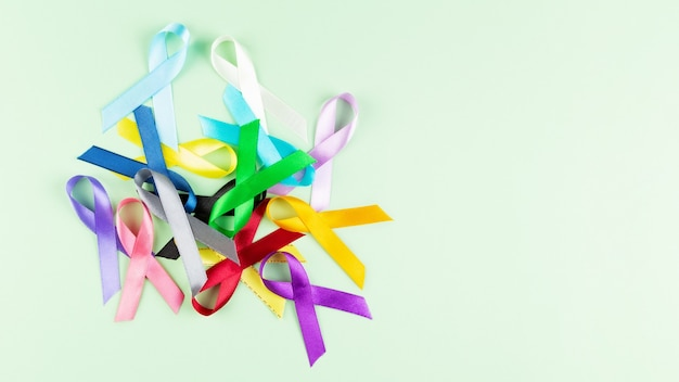 World cancer day. colorful ribbons, cancer awareness. top view. copy space