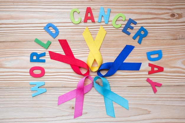 World cancer day (february 4). colorful awareness ribbons