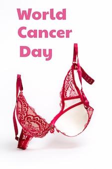 Всемирный день борьбы с раком. розовый кружевной бюстгальтер на белом фоне. вертикальная ориентация. скопируйте пространство.