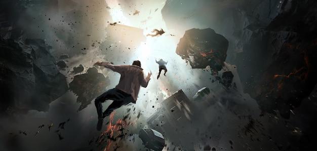 세계 붕괴, 최후의 날 장면, 디지털 페인팅.