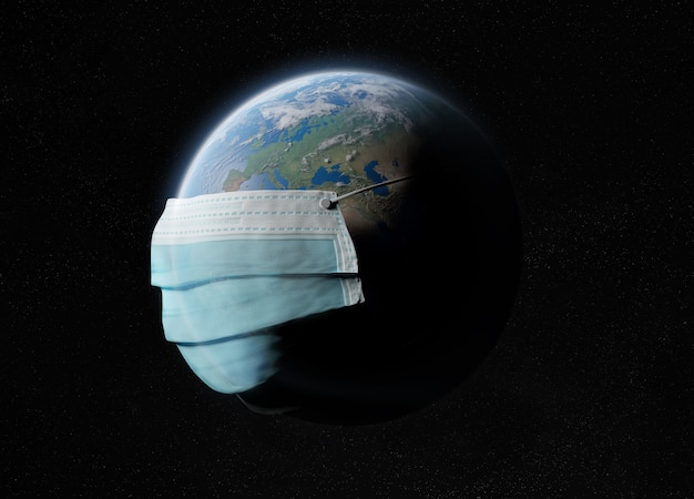 The world covered by a surgical mask from the coronavirus pandemic.