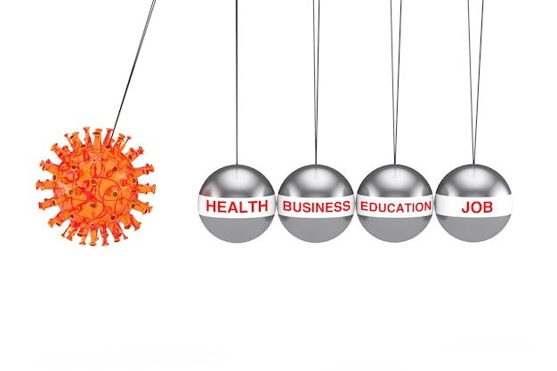 Концепция мирового кризиса. коронавирус covid-19, клеточная атака, колыбель ньютона, балансирующий мяч как сферы здоровья, бизнеса, образования и трудовой жизни на белом фоне. 3d рендеринг