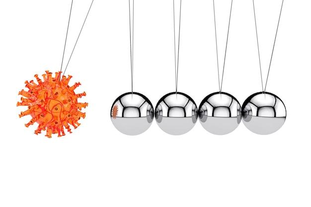 Концепция мирового кризиса. коронавирус covid-19 cell attack newtons cradle balancing ball на белом фоне. 3d рендеринг