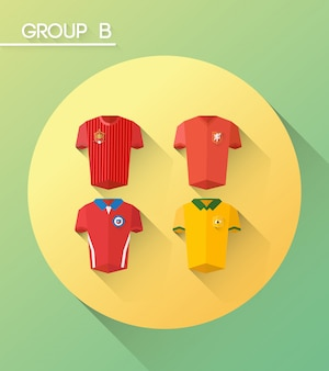 World cup group b vector with jerseys