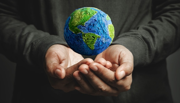World earth day concept green energy renewable and sustainable resources environmental care
