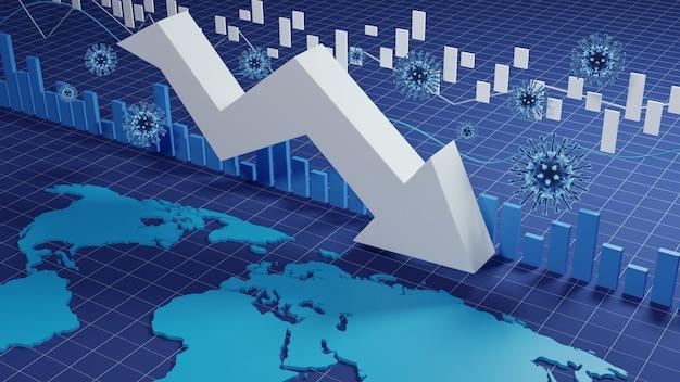 세계 경제와 코로나 바이러스 개념. 코로나 바이러스가 증권 거래소에 미치는 영향.