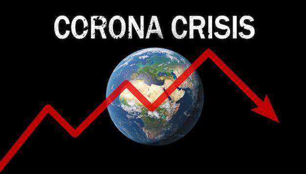 Мировая экономика и концепция вируса короны. влияние коронавируса на мир. 3d иллюстрация