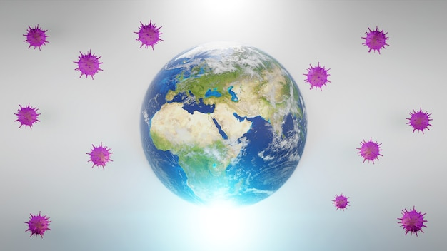 世界経済とコロナウイルスのコンセプト。コロナウイルスが世界に与えた影響。 3 d イラストレーション