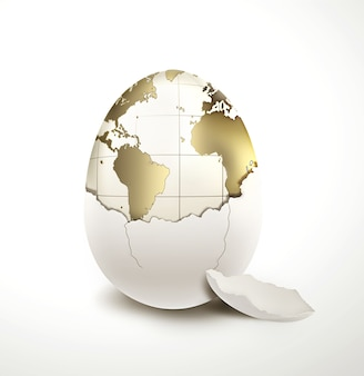 World in egg shell on a light background