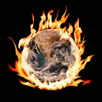 Immagine del mondo in fiamme, riscaldamento globale, remix ambientale con effetto fuoco