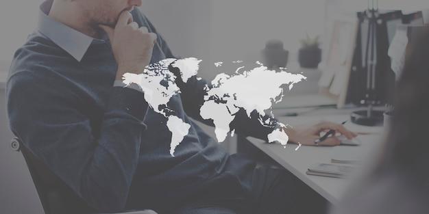 世界のグローバル地図作成グローバリゼーション地球の国際概念