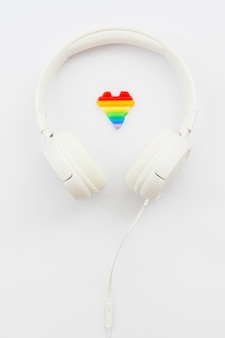 World happy pride day white headphones